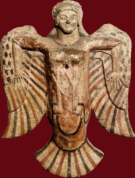 Sirène Plaque d'applique décorative. Étrurie, vers 520 av. J.-C. Terre cuite à rehauts de peinture (blanc, rouge, noir) H. 20,2cm; l.: 15...