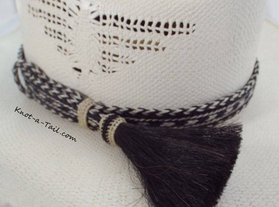 8e5bb73ff4297 Rodeo Stlye horsehair hat band large Side tassel Bold