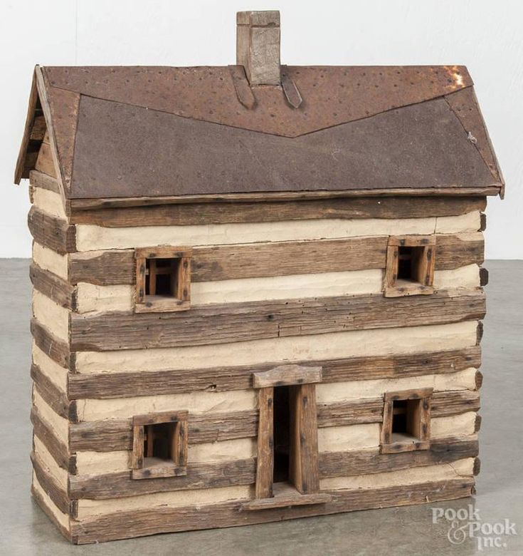 Contemporary model of a log cabin, signed D. Johns…