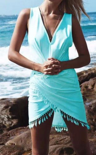 Women Summer Boho Beach Sleeveless Aysmmetrical Tassel Party Beach Dress Vestido Vestidos