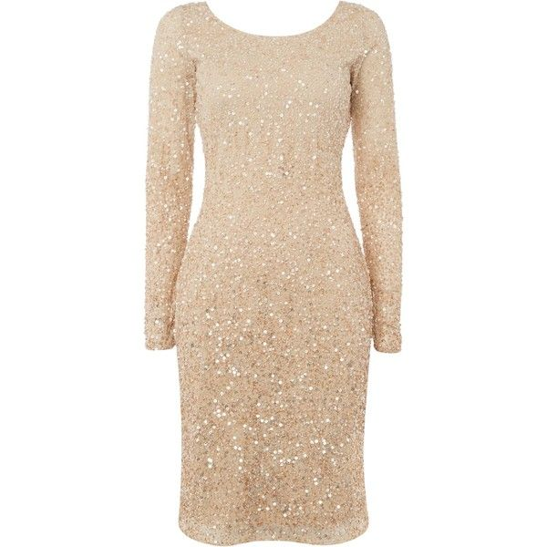 Raishma Sequin Dress, Gold (€220) ❤ liked on Polyvore featuring dresses, cocktail dress, cocktail maxi dresses, beige cocktail dress, bodycon cocktail dress, gold sequin cocktail dresses and long-sleeve maxi dresses