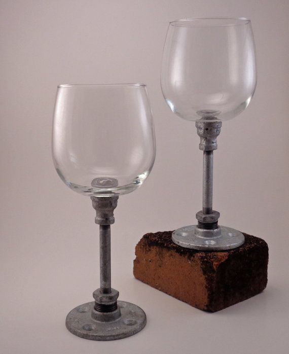 Industrial Wine Glasses  Set of 2 by TheUrbanArboretum on Etsy