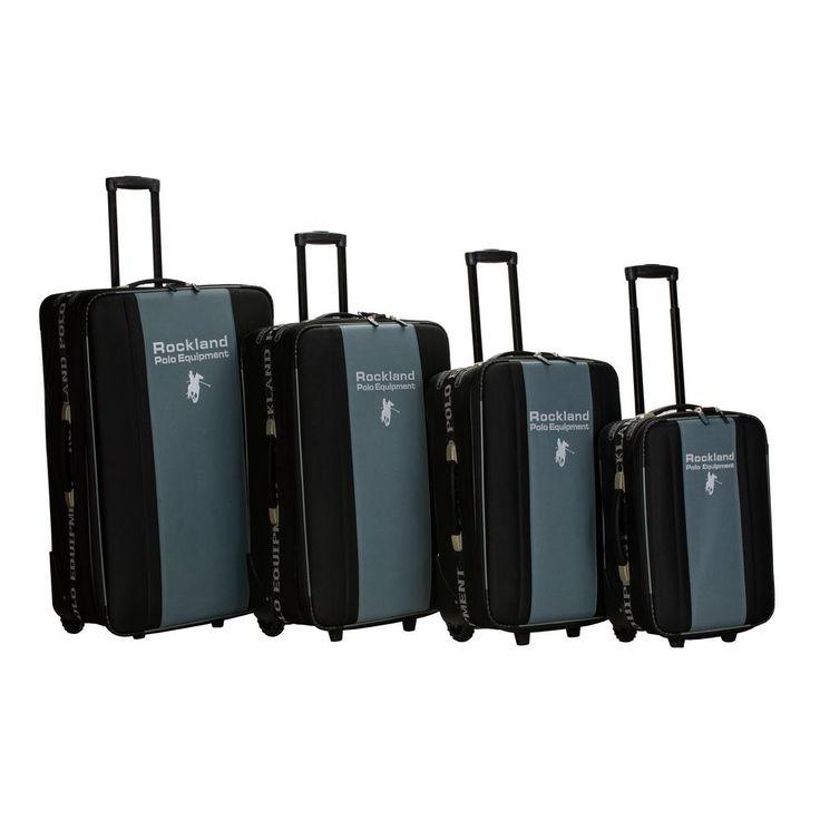 4-Piece Upright Rockland Polo Equipment Luggage Set, Black