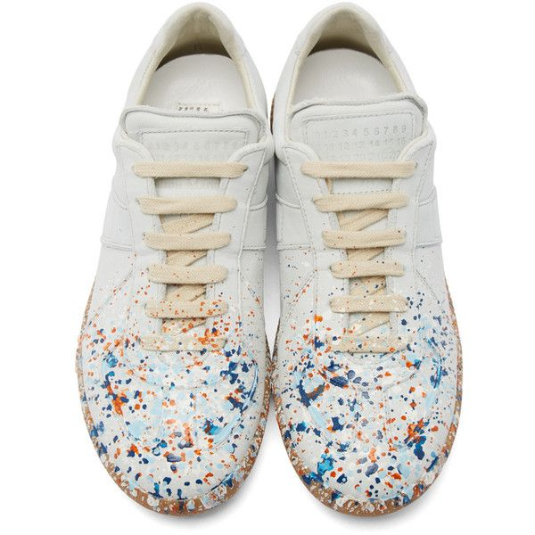 Maison Margiela Off-White Leather Painted Replica Sneakers ($550) ❤ liked on Polyvore featuring shoes, sneakers, leather sneakers, lace up shoes, low top, champagne shoes and leather low top sneakers