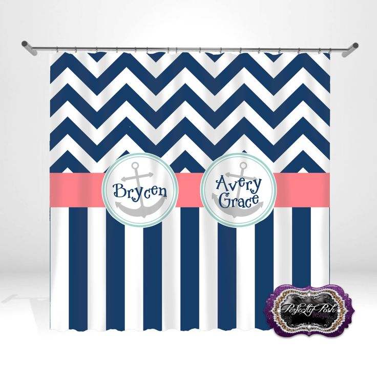 Personalized Anchor Shower Curtain by ItsPerfectlyPosh on Etsy https://www.etsy.com/listing/197764199/personalized-anchor-shower-curtain