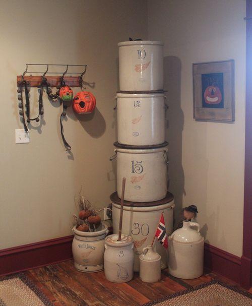 great way to display antique crocks
