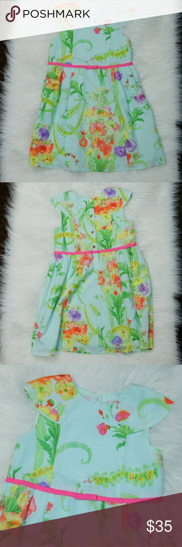 """Baker by Ted Baker Dress Completely adorable floral  sleeveless dress. Fully lined and with cute gold heart buttons down the back. Size marked is 5 years. This equates to a child approximately 43"""" tall. 23"""" from shoulder to hem. No trades! EUC Baker by Ted Baker Dresses"""