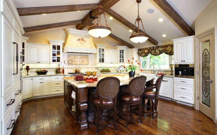 Скачать обои посуда, люстра, мебель, стол, Design, Kitchen, шкафы, особняк, тюльпаны, Interior, кухня, дизайн, раздел интерьер в разрешении 1440x900