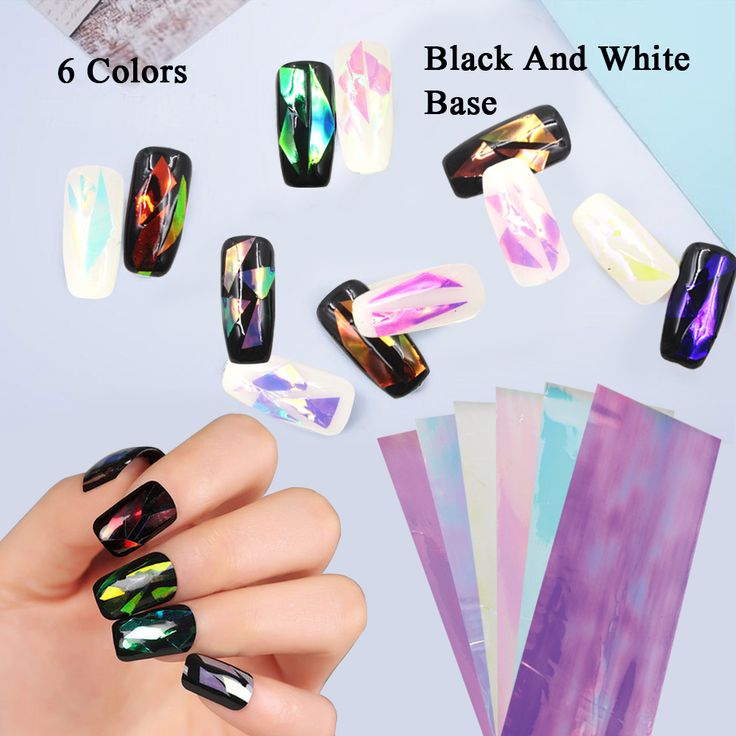 6 Pak Nail Sticker Gebroken Glas Water Decals Spiegel Effect Voor Nagels Art Fancy Punk Galaxy Transfer Nail Folies