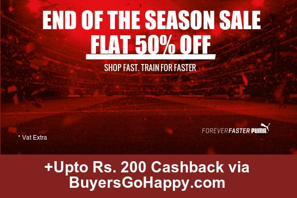 Flat 50% off on End of Season Sale at ‪#‎PUMA‬ +Upto Rs. 200 Cashback via BuyersGoHappy.com https://goo.gl/NvlFP5