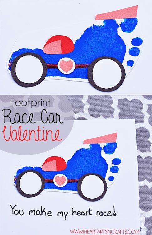 Footprint Race Car Valentine Craft Holiday Handprint Art