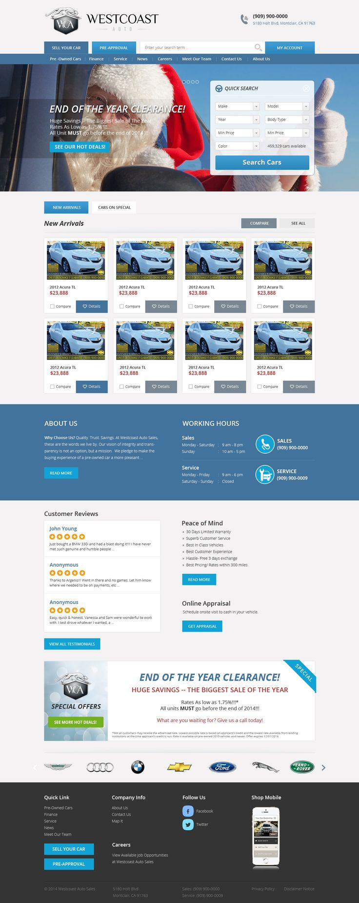 Luxury auto sales homepage redesign