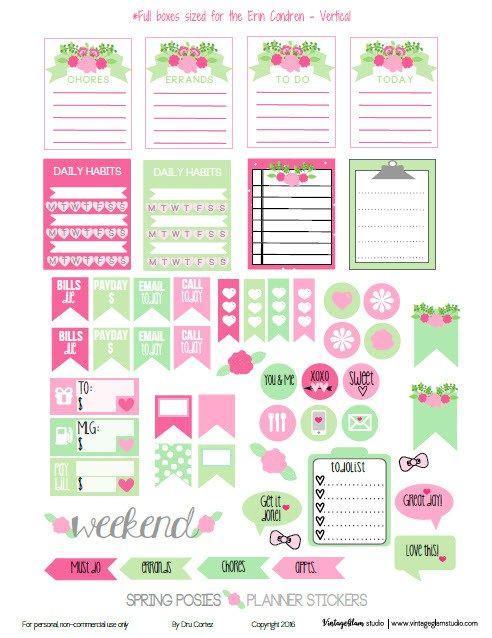 Pegatinas del planificador de la primavera de los ramilletes | Gratis para uso personal - adecuado para Erin Condren Los planificadores de la Vida - Vertical