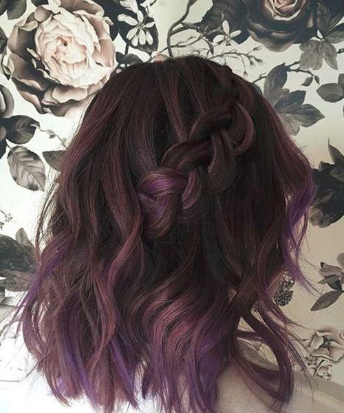 Chic Half Braided Purple Hairstyles 2018 for Women