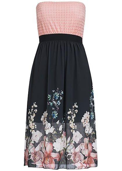 Styleboom Fashion Damen Midi Bandeau Kleid Blumen Muster Brustpads Spitze rosa schwarz - Art.-Nr.: 17036142