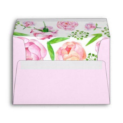Watercolor Pink Roses Invitation Envelope - floral style flower flowers stylish diy personalize