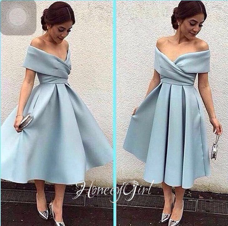 Womne's Blue Evening Dress,Tea-Length Evening Dress,Off-the-Shoulder Evening Dresses,Elegant Party Dress