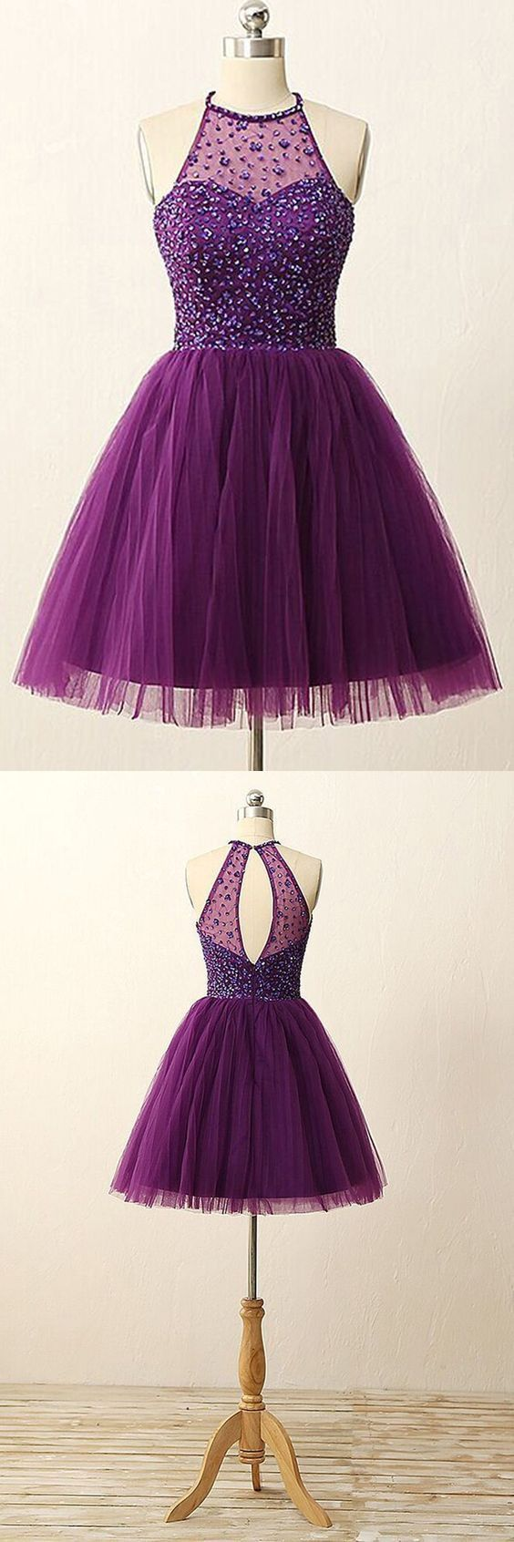 Elegant Purple Homecoming Dress,Short Beaded Prom Gowns,Halter Party