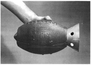 U.S. Army prototype anti-armor hand grenade from 1973 – a shaped charge, packed in a hollowed-out NERF football. [949 × 678] : MilitaryPorn