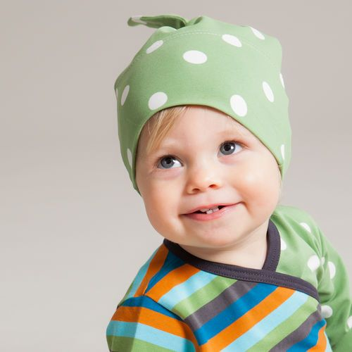 Cute knot hat for babies, one size. Wraparound bodysuit with matching stripes and polka dots http://en.nosh.fi/product/940/wraparound-bodysuit-multistripe-petrol