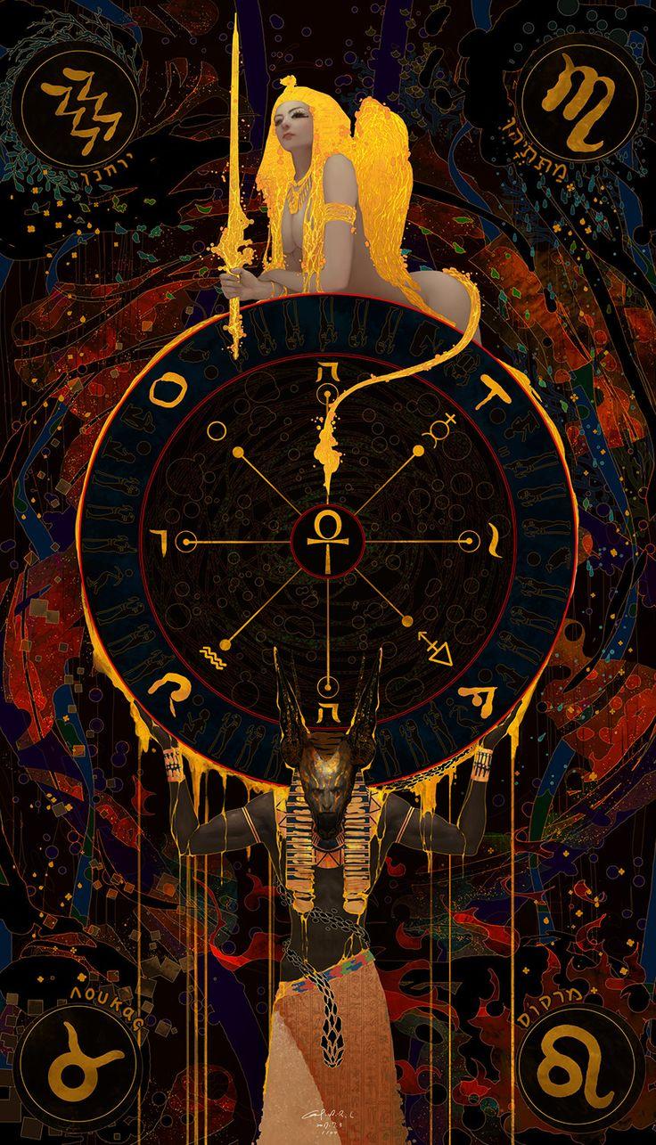 Tarot 10 The Wheel of Fortune, Casimir Lee on ArtStation at https://www.artstation.com/artwork/eXZJD