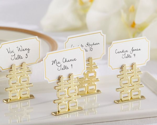 Double Happiness Place Card Holders (Set of 6) (Kate Aspen 11244NA) | Buy at Wedding Favors Unlimited (http://www.weddingfavorsunlimited.com/double_happiness_place_card_holders_set_of_6.html).