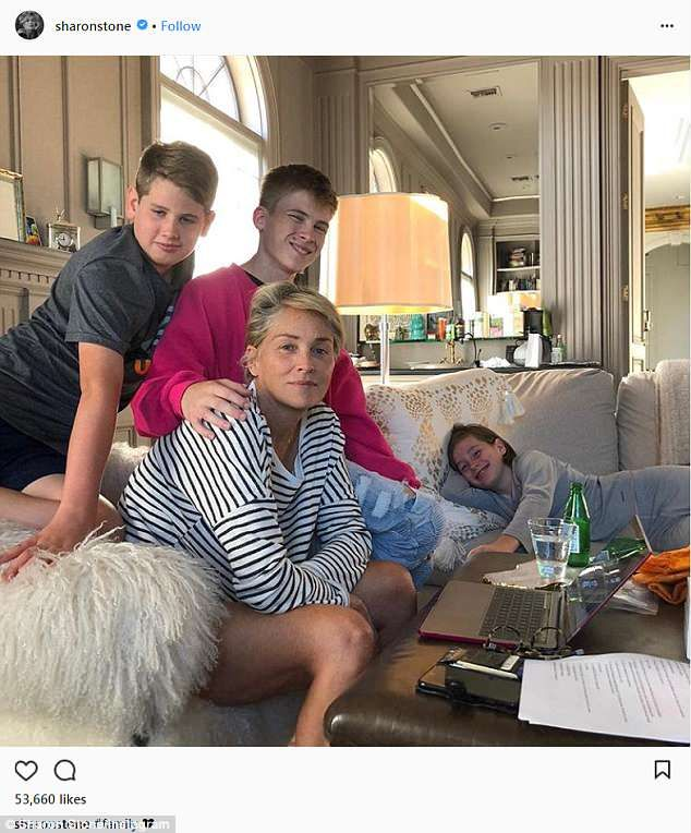 Sharon Stone is the blonde bombshell who just gets better with age. And  she's also a mother of three. On Thursday she shared a rare image with all  three ...