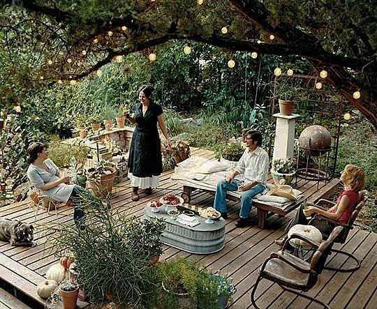 Summer party on a rustic garden deck - the perfect way to spend time outdoors.
