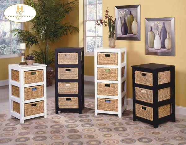 Homelegance 474-475 Series Storage Cabinets with Baskets--3 Drawer 16W x 18D - Wicker Storage Cabinets Cymun Designs