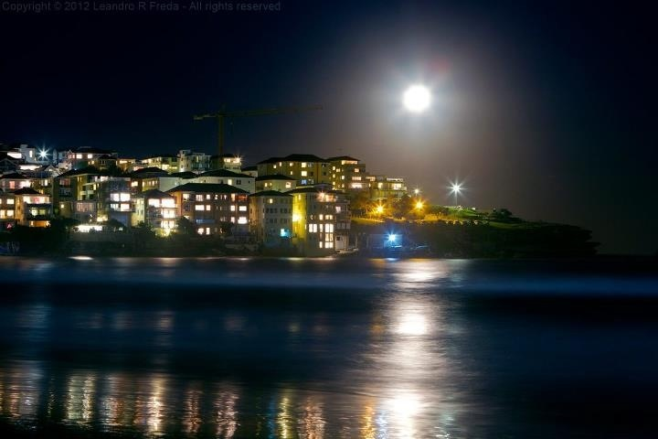 Bondi Beach, Sydney at night.