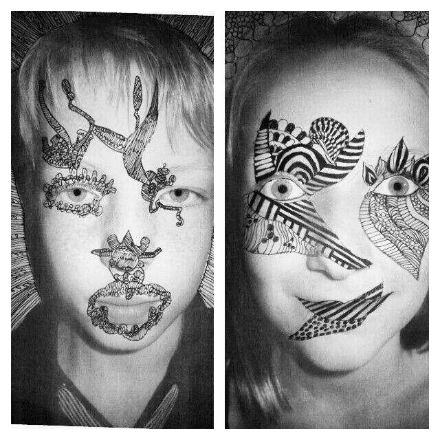 Verjaardagskalender; Ik heb dit jaar in groep 8 foto's van de kinderen gemaakt. Daarna mochten ze hun gezicht tatoeëren en hun naam en verjaardag erbij tekenen.