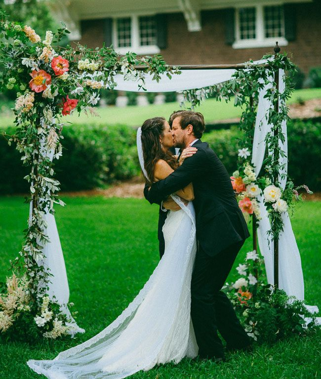 South Carolina ceremony with a floral arbor