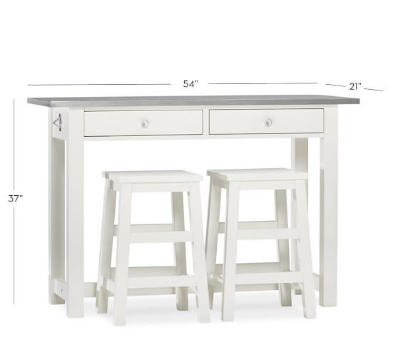 Balboa Wood Amp Stainless Steel Counter Height Table W 2