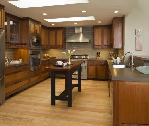 Contemporary U-shaped Taupe Kitchen, Oak Cabinets, $50,000
