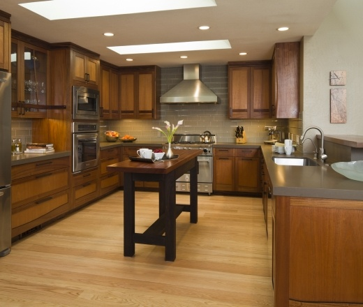Contemporary U-shaped Taupe Kitchen, Oak Cabinets, $50,000