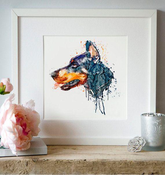 Doberman Portrait Watercolor painting Wall art Dog by Artsyndrome