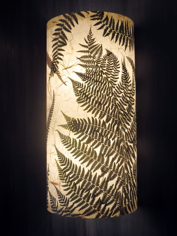 www.AmbientArt.com   Ferns from the Northwest are fabulously displayed on this one of a kind piece of functional art - a light for your wall.