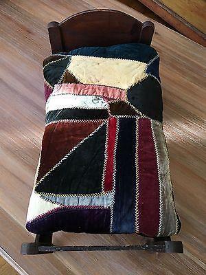 Vintage Antique Victorian Dark Wood Doll Bed Crib & Velvet Crazy Quilt Mattress