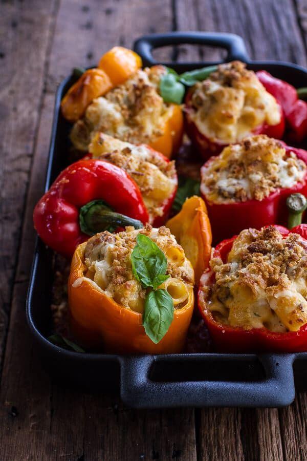 Mini Italian Meatball Mac and Cheese Stuffed Peppers | halfbakedharvest.com @hbharvest