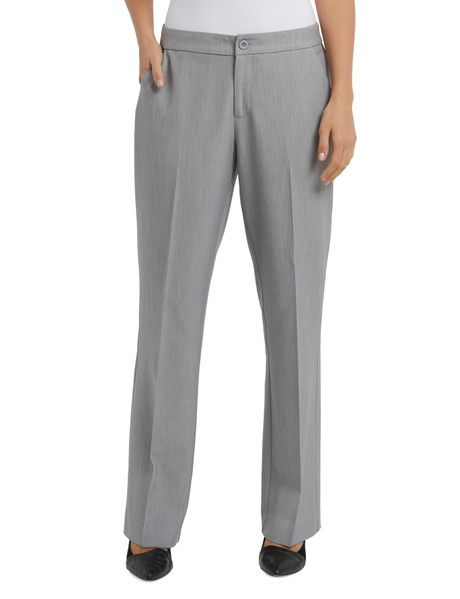 These straight leg dress pants feature lined diagonal pockets on the front, two rear fake pockets, and a V-tab on the waistband.