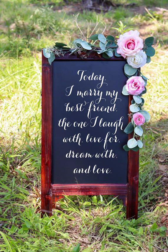 Today I Marry My Best Friend Wedding Chalkboard Easel Sign