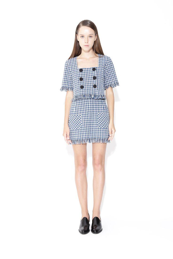 TWIGGY   Mini Skirt With Frayed Hem