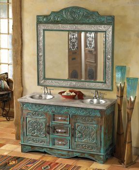 Western BathroomWall Colors, Turquoise Painting Furniture, Western Bathrooms, Rustic Bathroom, Westerns Bathroom, Bathroom Sinks, Bathroom Ideas, Turquoise Bathroom Vanities, Mirrors Mirrors
