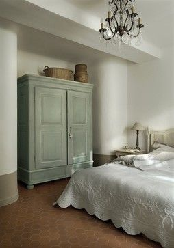 Master bedroom - mediterranean - bedroom - other metro - Décoration et provence.  Love the armoire color