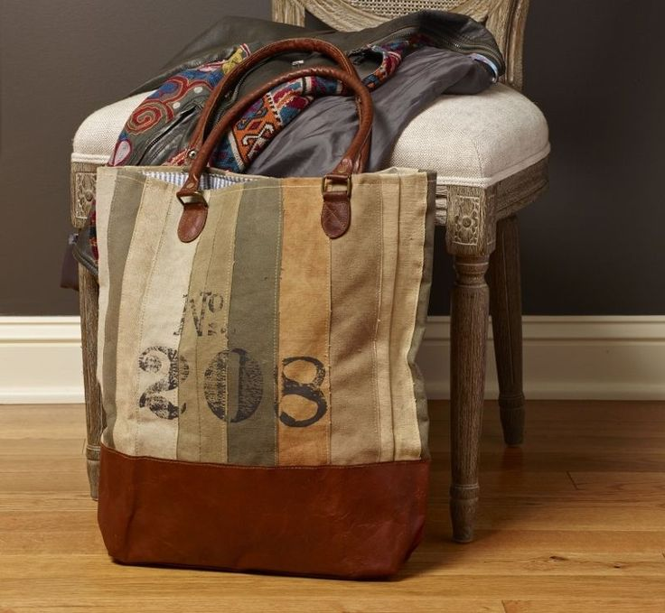 """Mona B No.208 Strip Recycled Canvas Tote Bag with Leather Drop Handles 16""""x17"""" in Clothing, Shoes & Accessories, Women's Handbags & Bags, Handbags & Purses   eBay"""