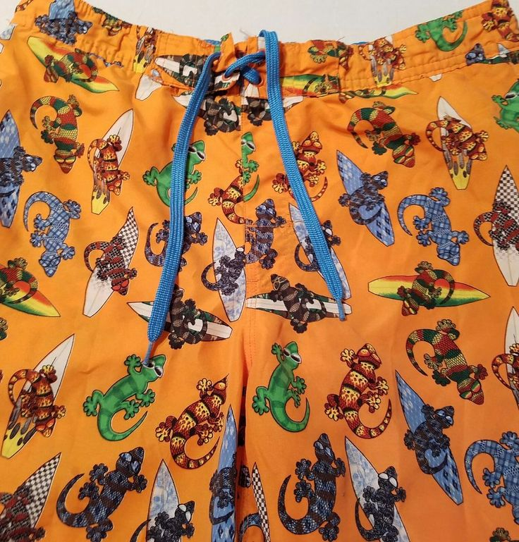 VTG Gecko Hawaii Lizards Surfboards Sunglasses Orange Men's Board Shorts Size S #GeckoHawaii #Trunks