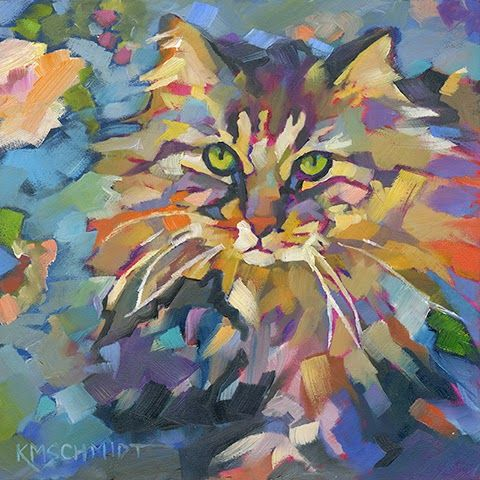 Just Animal Pet Art Paintings by Louisiana Artist Karen Mathison Schmidt: Garden Biscuit abstract fauve impressionist oil painting of a fluffy tortoise-shell tabby cat • illustration art of a cottage garden kitty • professional pet portrait by Louisiana artist KMSchmidt