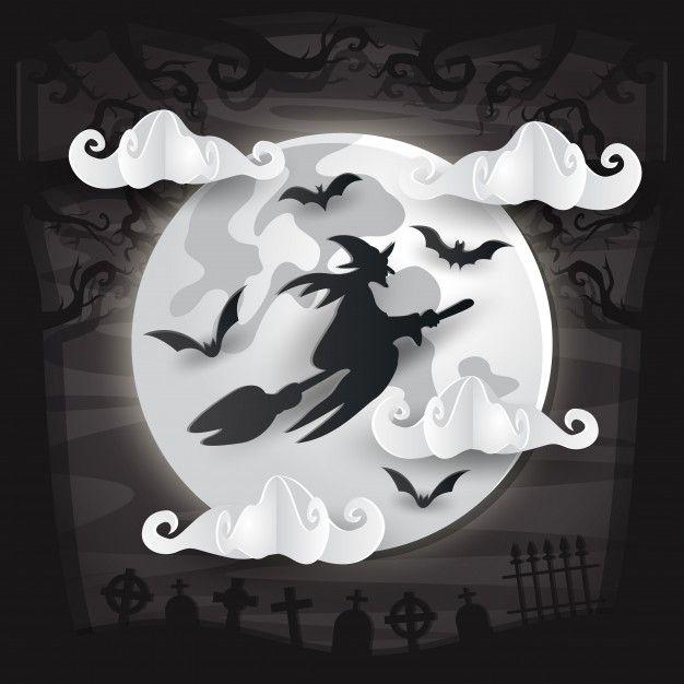 Cartão assustador do dia das bruxas do estilo da arte do papel Vetor Premium