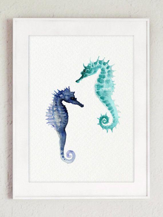 Set of 2 Seaturtle & Seahorse Watercolor by ColorWatercolor