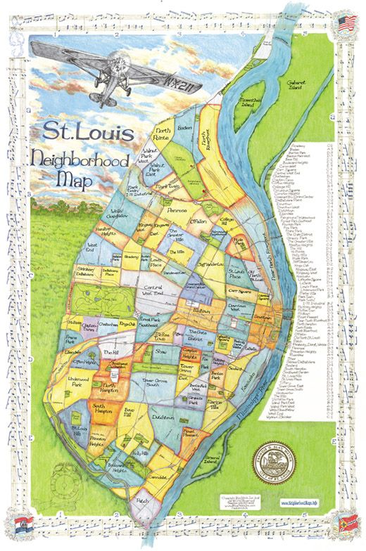 St. Louis Neighborhood Map | Decorating in 2019 | St louis map, St ...
